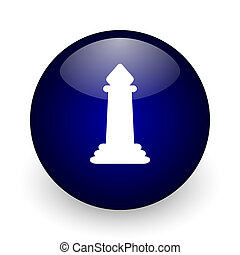 Chess blue glossy ball web icon on white background. Round 3d render button.