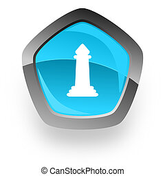 chess blue metallic chrome web pentagon glossy icon
