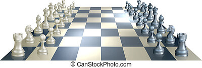 Chess board and pieces - An illustration of a chess board...