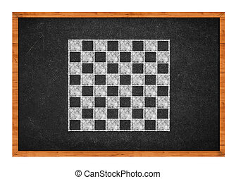 Chess board drawing on a black chalkboard