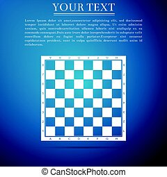 Chess board flat icon on blue background. Vector Illustration