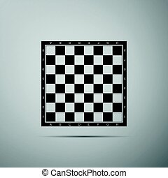 Chess board flat icon on grey background. Vector Illustration