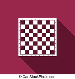 Chess board flat icon with long shadow. Vector Illustration