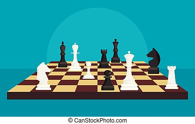 Chess board game concept background, flat style