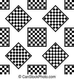 Chess board icon seamless pattern on white background. Vector Illustration