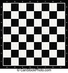 chess board in black and white wood illustration