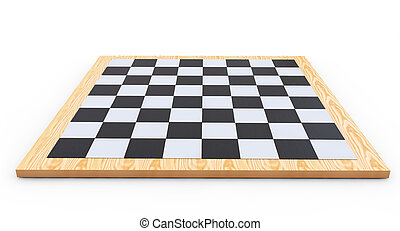 chess board on a white background 3d render
