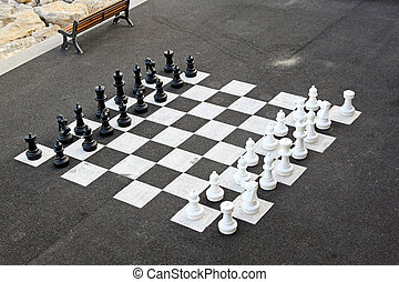 Outdoor chess game and big chequer board