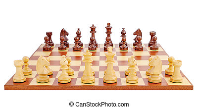 Chess board set up to begin a game, isolated on white...