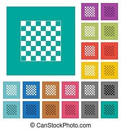 Chess board square flat multi colored icons - Chess board ...