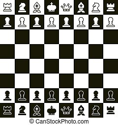 Chess Board. Vector Top View Chess Pieces.