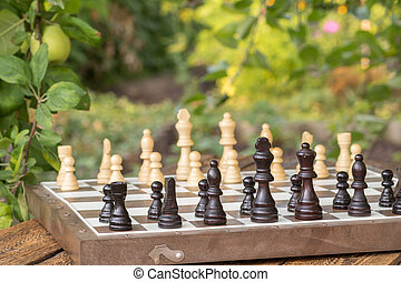 Chess board with chess pieces on wooden desk with branch of apple tree on the background.