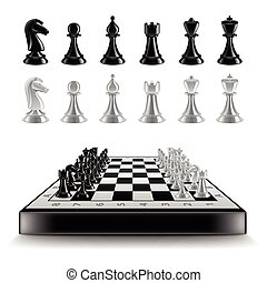 Chess board with figures isolated on white vector - Chess...
