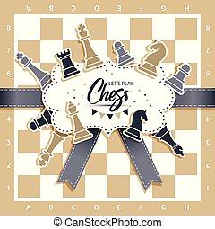 Chess Board with figures. Vector illustration of chess.