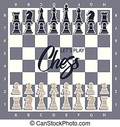 Chess Board with figures. Wector illustration of chess