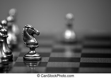 Chess Board with Knight Facing Opponent