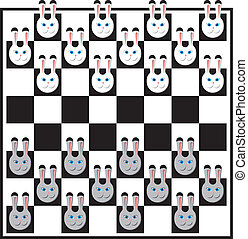 Chess board with rabbits