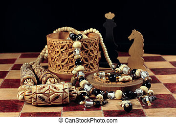 Chess, box from birch bark and a necklace