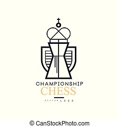 Chess championship logo design, black and white emblem with King chess vector Illustration