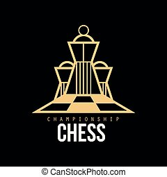 Chess championship logo, design element for tournament, chess club, business card vector Illustration