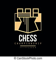 Chess championship logo design, emblem with Tower chess vector Illustration
