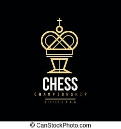 Chess championship logo, emblem with King chess, design element for tournament, chess club, business card vector Illustration