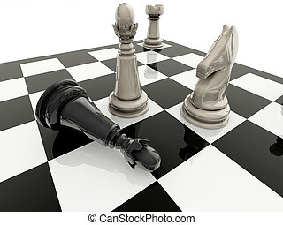 Chess checkmate - Fallen king near the the opponent king,...