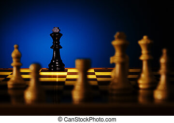 Chess - Close up view of the chess on the chessboard