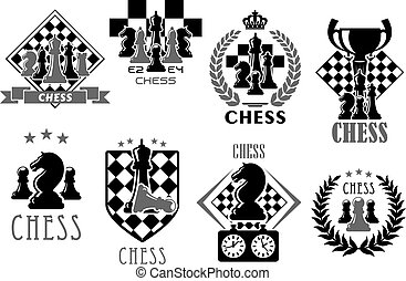 Chess club and game contest vector icons