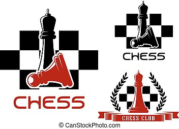 Chess club icons with queen and pawn - Chess club icons with...