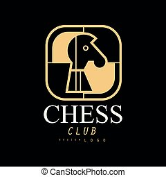 Chess club logo, design element for tournament, championship, business card vector Illustration