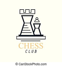 Chess club logo, emblem with Tower chess, design element for tournament, championship, business card vector Illustration