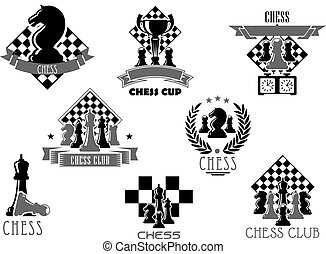 Chess club or tournament icon for sporting design