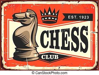 Chess club vintage tin sign