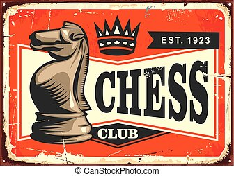 Chess club vintage tin sign