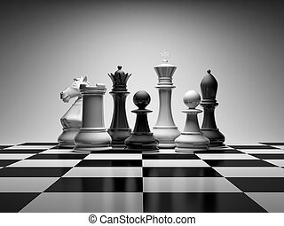 Chess composition - Composition with chessmen on glossy...