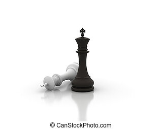 Chess concept - Victory chess illustration on white...