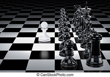Chess, confrontation concept. 3D rendering