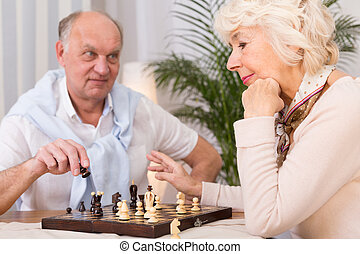 Chess contest in senior marriage