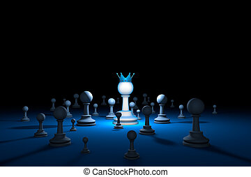 Chess country. Leader (chess metaphor). 3D render illustration. Free space for text.