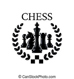 Chess emblem. Chess Pieces King, Knight, Rook, Pawns with a wreath. Vector illustration isolated on white.