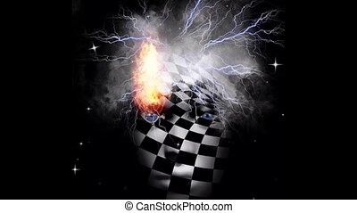 Chess face with storm clouds and lightnings. High quality FullHD footage