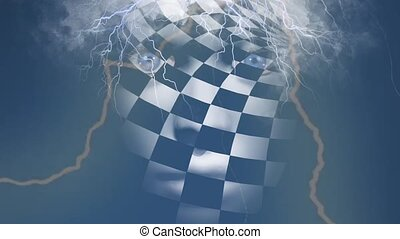 Chess face with storm clouds and lightnings