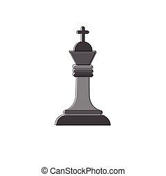 Chess Figure Logo Icon Thin Line Vector Illustration