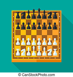 Chess figures and board set in flat style. - Chess figures...
