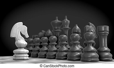 Chess figures - Chess figure, business concept strategy 3D...