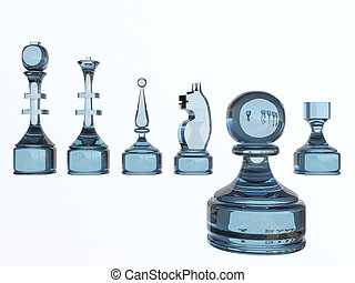 Chess Figures Glass, Conceptual, Photorealism 3d Illustration