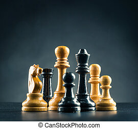 Chess figures  - Wooden chess figures on the table
