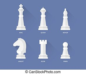 Chess flat icons - Chess pieces flat icons. Vector queen and...