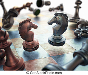 Chess Floating - Image concept of chess pieces floating over...
